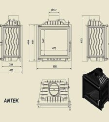 Ενεργειακό Τζάκι Ξύλου Αερόθερμο ANTEK Ίσιο - Μαντεμένιο 10KW 80-100m² Kratki