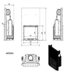 Ενεργειακό Τζάκι Ξύλου Αερόθερμο ANTEK 10 KW με Συρόμενη Πόρτα - Μαντεμένιο 80-100m² Kratki