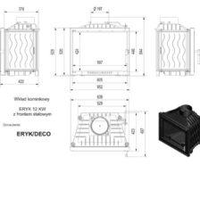 Ενεργειακό Τζάκι Ξύλου Αερόθερμο ERYK DECO 12KW / 100-130m² Μαντεμένιο Kratki