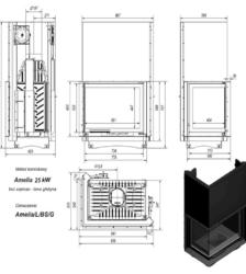Ενεργειακό Τζάκι Ξύλου Αερόθερμο AMELIA BS Αριστερή Γωνία GUILLOTINE 25KW/200-250m² Μαντεμένιο Kratki