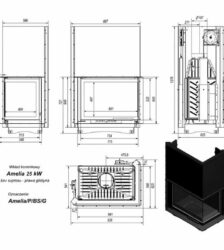 Ενεργειακό Τζάκι Ξύλου Αερόθερμο AMELIA BS Δεξιά Γωνία GUILLOTINE 25KW/200-250m² Μαντεμένιο Kratki