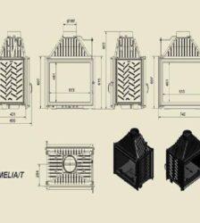 Ενεργειακό Τζάκι Ξύλου Αερόθερμο AMELIA Διαμπερές 25 KW/200-250m² Μαντεμένιο Kratki