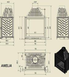 Ενεργειακό Τζάκι Ξύλου Αερόθερμο AMELIA Ίσιο 25KW/200-250m² Μαντεμένιο Kratki