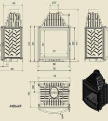 Ενεργειακό Τζάκι Ξύλου Αερόθερμο AMELIA Κάμπυλο 25KW/200-250m² Μαντεμένιο Kratki