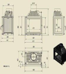 Ενεργειακό Τζάκι Ξύλου Αερόθερμο MAJA Αριστερή Γωνία 12 KW/90-120m² Μαντεμένιο Kratki