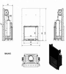 Ενεργειακό Τζάκι Ξύλου Καλοριφέρ MAJA/PW GUILOTTINE 12 KW/90-120m² Επίπεδη Συρόμενη Πόρτα Kratki