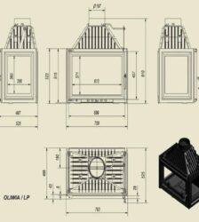 Ενεργειακό Τζάκι Ξύλου Αερόθερμο OLIWIA Πανοραμικό 18 KW/150-180m² Μαντεμένιο Kratki