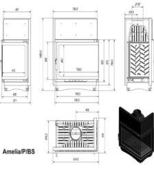 Ενεργειακό Τζάκι Ξύλου Αερόθερμο AMELIA BS Δεξιά Γωνία 25KW/200-250m² Μαντεμένιο Kratki
