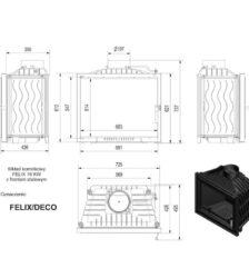 Ενεργειακό Τζάκι Ξύλου Αερόθερμο FELIX DECO 16 KW / 140-160m² Ίσιο - Μαντεμένιο Kratki