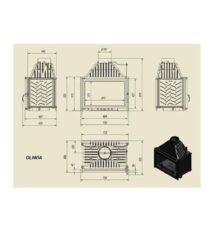 Ενεργειακό Τζάκι Ξύλου Αερόθερμο OLIWIA Ίσιο 18 KW /150-180m²/Μαντεμένιο Kratki