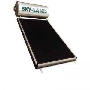 Ηλιακός θερμοσίφωνας 200lt τριπλής ενεργείας skyland INOX με κάθετο συλλέκτη (συλλεκτική επιφάνεια 3,06 m2)