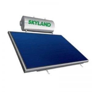 Ηλιακός θερμοσίφωνας 200lt τριπλής ενεργείας skyland INOX με 2 κάθετους συλλέκτες (συλλεκτική επιφάνεια 4,10 m2)